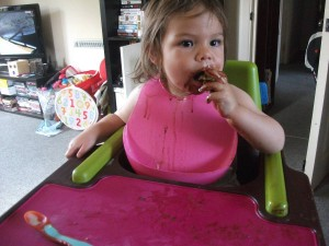 Amélie enjoying Nutella pancakes