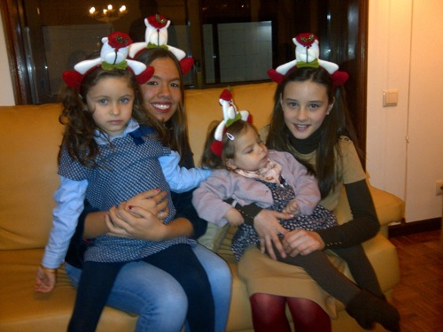 Amelie and her cousins on Christmas Eve