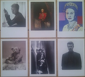 Audrey Hepburn (by Cecil Beaton 1945), Arthur Wellesley 1st Duke of Wellington (by William Salter, 1839), Queen Elizabeth II (by Andy Warhol, 1985), Christopher Robin Milne's Pooh Bear (by Marcus Adams, 1928), The Rolling Stones (by Gered Mankowitz, 1965) and David Bowie (by Fergus Greer, 2001).